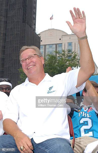 Team president Ron Jaworski waves to fans during a championship parade at City Hall on July 27 2008 in Philadelphia Pennsylvania Bon Jovi and fellow...