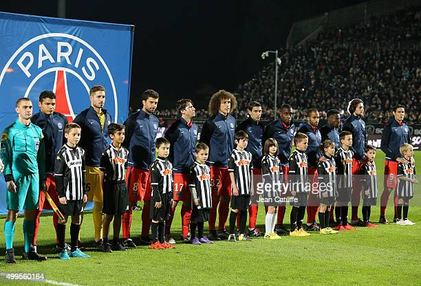 Team PSG poses prior to the French Ligue 1 match between Angers SCO and Paris SaintGermain at Stade Jean Bouin on December 1 2015 in Angers France
