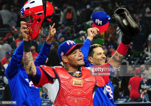 Team Puerto Rico catcher Yadier Molina on the filed after Puerto Rico defeated team USA 6 to 5 to advance into the semifinals during the World...