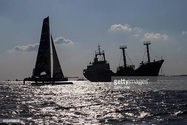 Team Red Bull Extreme Sailing of Austria competes during the Extreme Sailing Series on September 13 2014 in Istanbul Turkey