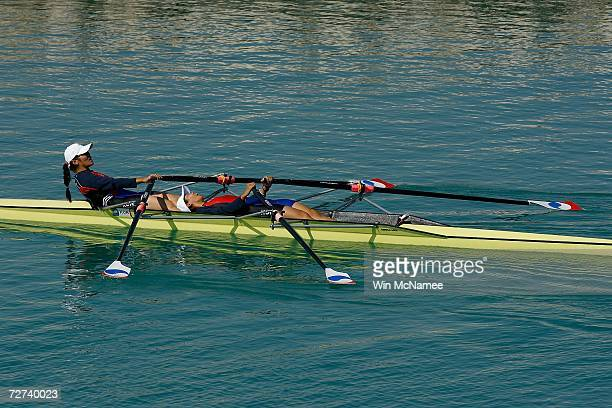 Team Republic of Korea Team rows to win the Silver Medal in the Women's Double Sculls Rowing Competition during the 15th Asian Games Doha 2006 at the...