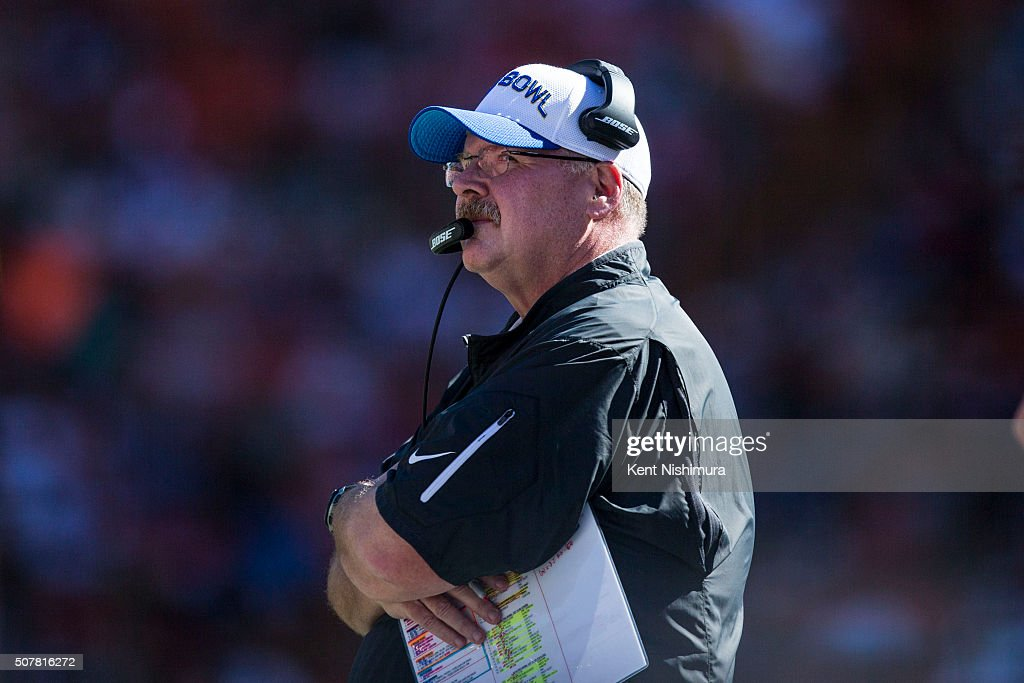 Team Rice head coach Andy Reid of the Kansas City Chiefs stands on the sidelines during the first half of the 2016 Pro Bowl at Aloha Stadium on...