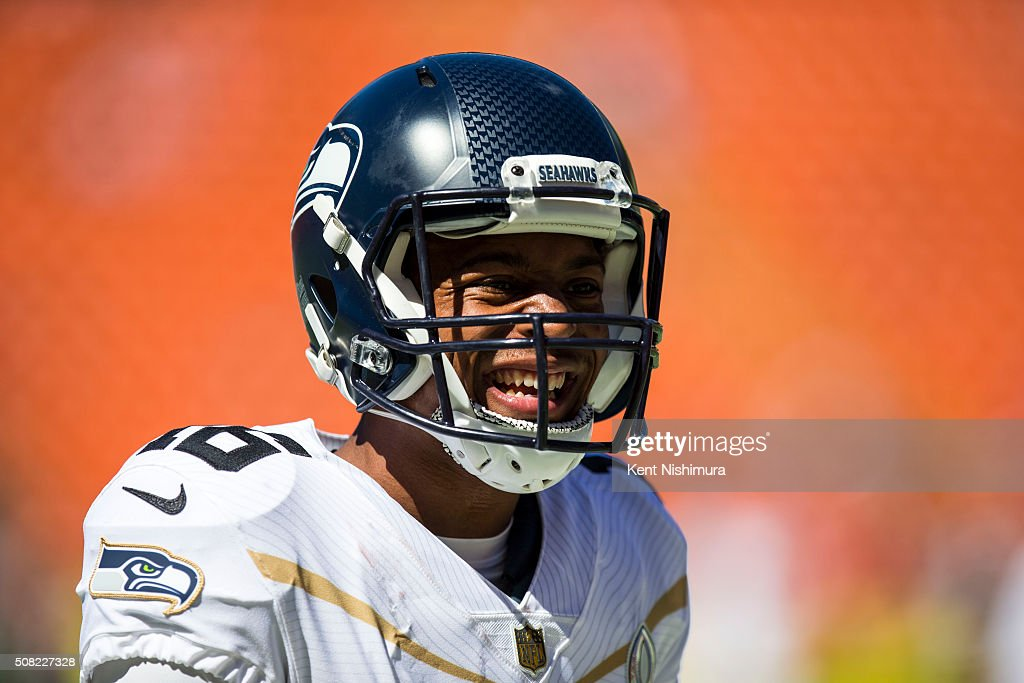 Team Rice kick returner <a gi-track='captionPersonalityLinkClicked' href=/galleries/search?phrase=Tyler+Lockett&family=editorial&specificpeople=8364808 ng-click='$event.stopPropagation()'>Tyler Lockett</a> #16 of the Seattle Seahawks warms up before the start of the first half of the 2016 NFL Pro Bowl at Aloha Stadium on January 31, 2016 in Honolulu, Hawaii.Team Irvin defeated Team Rice 49-27.