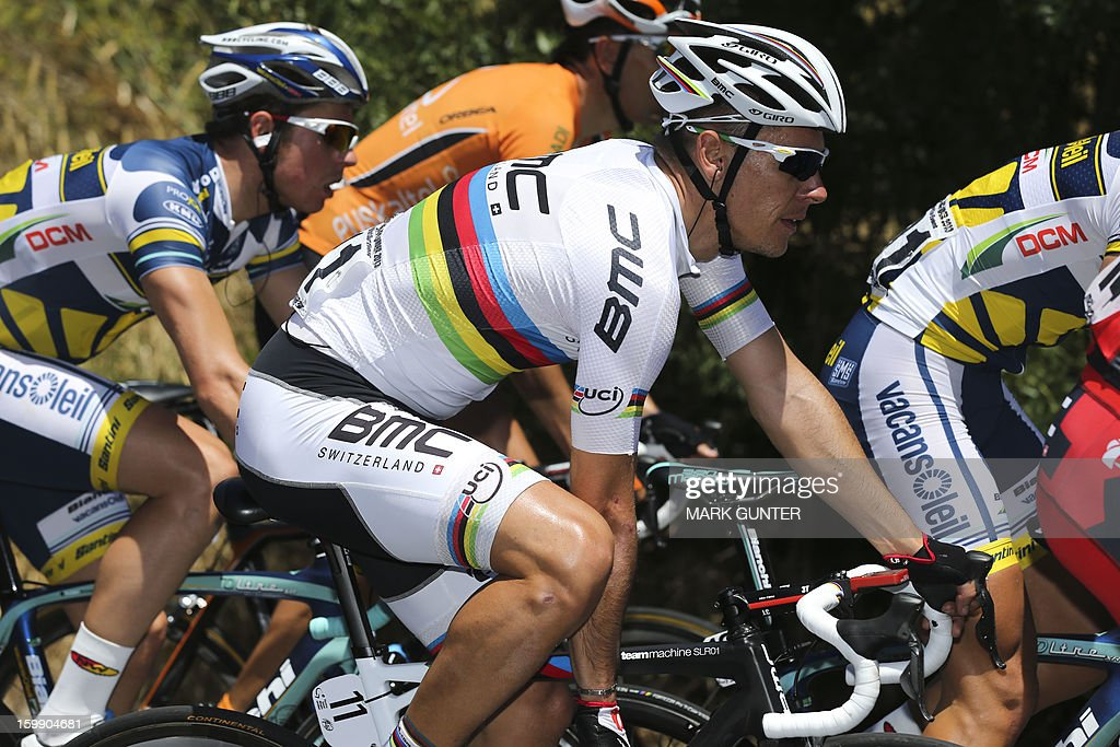 BMC team rider Philippe Gilbert from Belgium rides during the 116.5km stage two of the Tour Down Under in Adelaide on January 23, 2013. The six-stage Tour Down Under takes place from January 20 to 27. AFP PHOTO / Mark Gunter USE