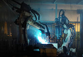 Robot welding movement for Industrial automotive
