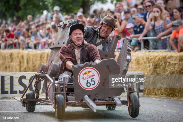 Team Rockin' Rolla take part in the The Red Bull Soapbox Race at Alexandra Palace on July 9 2017 in London England The event in which amateur drivers...