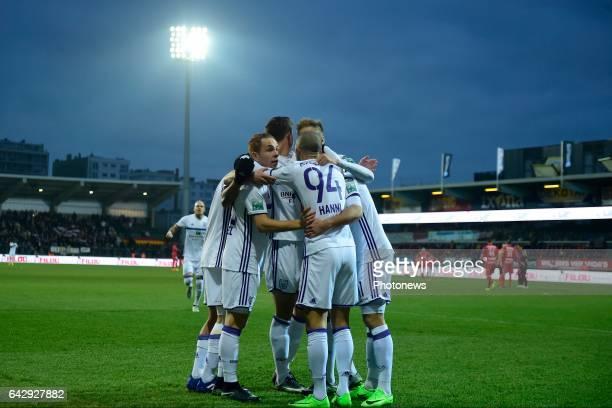 Team RSC Anderlecht celebrates scoring the openings goal by Sofiane Hanni midfielder of RSC Anderlecht during the Jupiler Pro League match between KV...