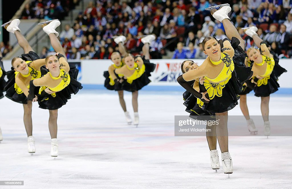 Team Russia 1 performs during the free skating competition of the ISU World Synchronized Skating Championships at Agganis Arena on April 6, 2013 in Boston, Massachusetts.
