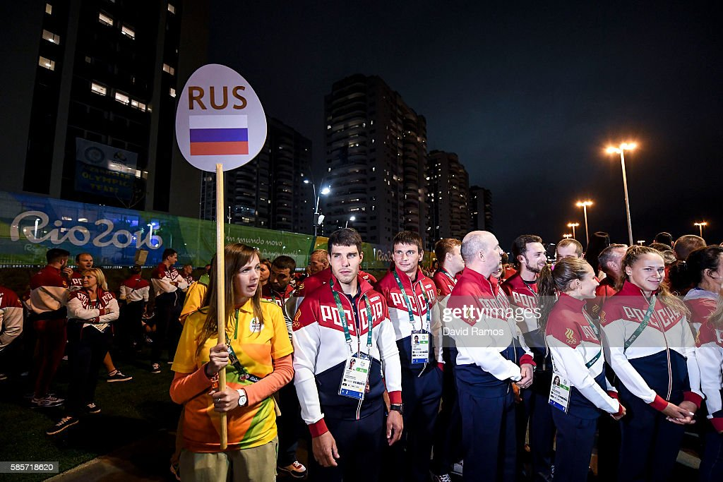 Team Russia athletes for the Rio 2016 Olympic Games attend their welcome ceremony at the Athletes village on August 3, 2016 in Rio de Janeiro, Brazil.