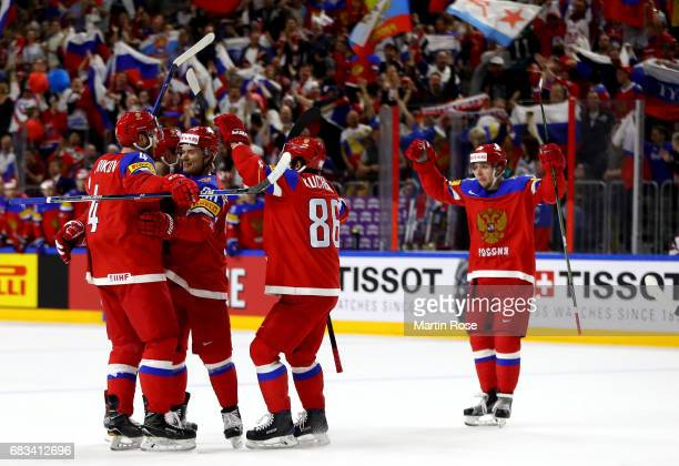 Team Russia celebrate their opening goal during the 2017 IIHF Ice Hockey World Championship game between Russia and Denmark at Lanxess Arena on May...