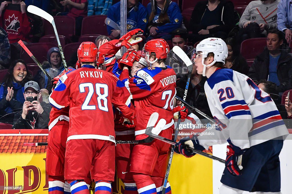 Team Russia celebrates a goal in the first period during the 2017 IIHF World Junior Championship semifinal game against Team United States at the Bell Centre on January 4, 2017 in Montreal, Quebec, Canada.