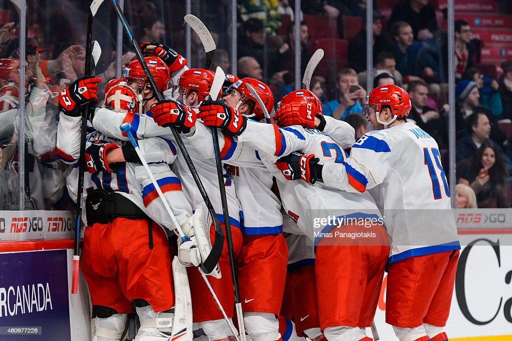 Team Russia celebrates a victory over Team United States in a quarterfinal round during the 2015 IIHF World Junior Hockey Championships at the Bell...
