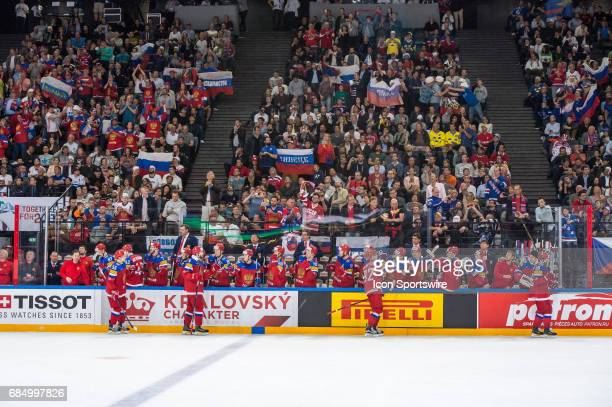 Team Russia celebrates the goal during the Ice Hockey World Championship Quarterfinal between Russia and Czech Republic at AccorHotels Arena in Paris...