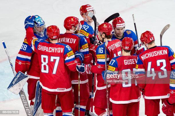 Team Russia celebrates the win over Czech Republic after the Ice Hockey World Championship Quarterfinal between Russia and Czech Republic at...