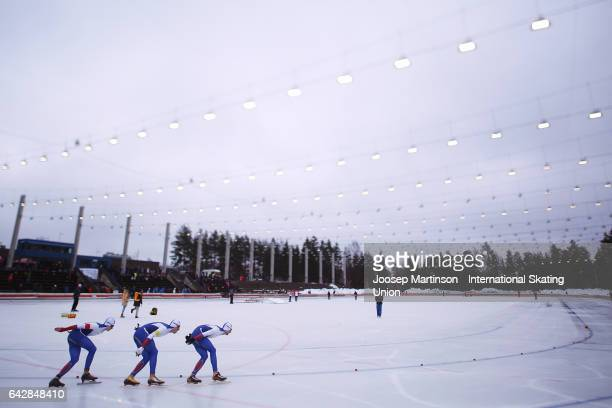 Team Russia compete in the men's team pursuit during day three of the World Junior Speed Skating Championships at Oulunkyla Sports Park on February...