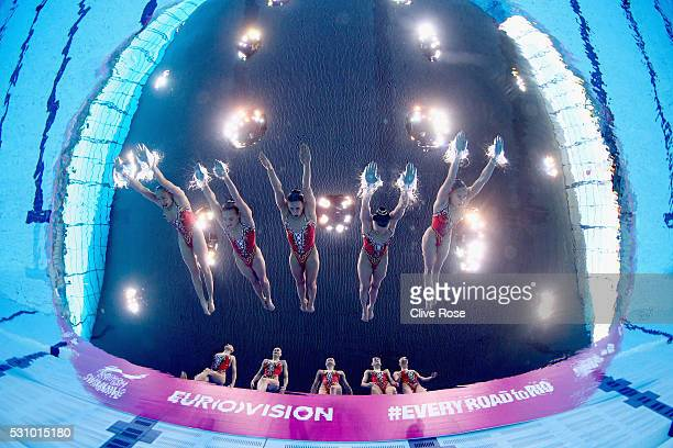 Team Russia compete in the Synchronised Swimming Team Free Final on day four of the 33rd LEN European Swimming Championships 2016 at Aquatics Centre...