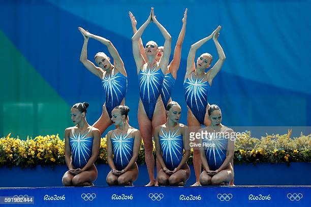 Team Russia competes in the Synchronised Swimming Teams Free Routine on Day 14 of the Rio 2016 Olympic Games at the Maria Lenk Aquatics Centre on...