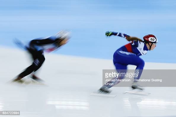 Team Russia lead the pack in the Ladies 3000m relay semi final during day one of the ISU World Cup Short Track at Minsk Arena on February 11 2017 in...