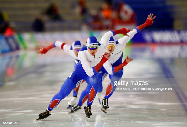 Team Russia races in the men's team sprint race during the ISU World Cup Speed Skating Championships December 1 2017 in Calgary Alberta Canada