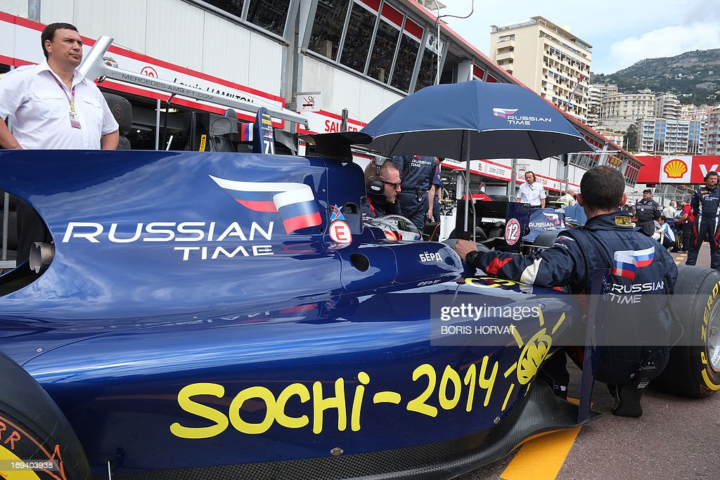 A GP2 team Russian Time car bares the logo of the up-coming 2014 winter Olympic games in Sochi at the Circuit de Monaco in Monte Carlo on May 24, 2013 ahead of the Monaco Formula One Grand Prix.