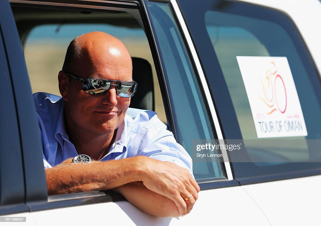 Team Saxo-Tinkoff Manager Bjarne Riis looks on during stage six of the 2013 Tour of Oman from Hawit Nagam Park to the Matrah Corniche on February 16, 2013 in Matrah, Oman.