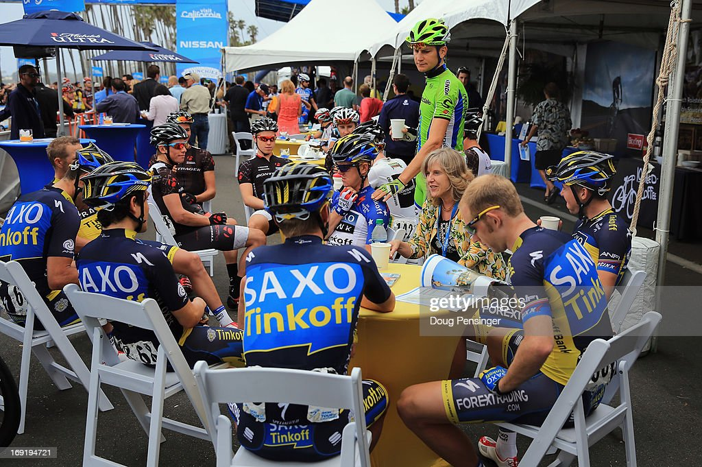 Team Saxo-Tinkoff relaxes before the start of Stage Five of the 2013 Amgen Tour of California from Santa Barbara to Avila Beach on May 16, 2013 in Santa Barbara, California.