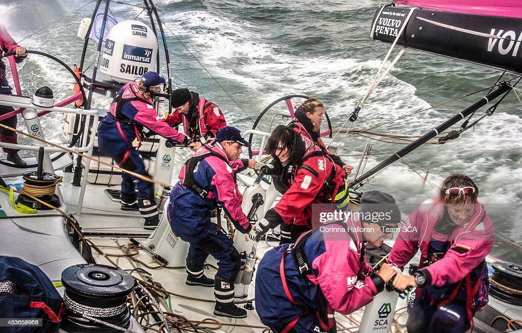 Team SCA compete in the Round Britain and Ireland Race on August 12, 2014 in an unspecified location at sea. Starting from Alicante in Spain on October 04, 2014, the 38,739-nautical mile route includes stopovers in Cape Town (South Africa), Abu Dhabi (UAE), Sanya (China), Auckland (New Zealand), Itaja (Brazil), Newport, RI,(USA), Lisbon (Portugal) and Lorient (France). A 24-hour pit-stop in The Hague is scheduled between France and the race finish in Sweden. The Volvo Ocean Race is the world's premier ocean yacht race for professional racing crews.
