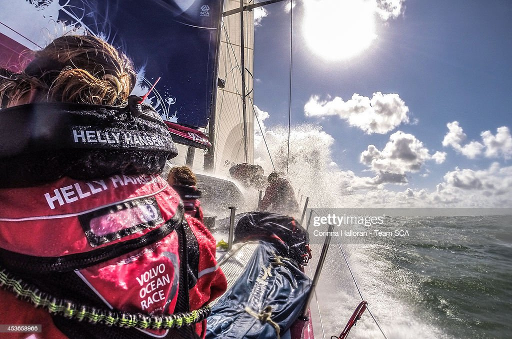Team SCA compete in the Round Britain and Ireland Race on July 7, 2014 in an unspecified location at sea. Starting from Alicante in Spain on October 04, 2014, the 38,739-nautical mile route includes stopovers in Cape Town (South Africa), Abu Dhabi (UAE), Sanya (China), Auckland (New Zealand), Itaja (Brazil), Newport, RI,(USA), Lisbon (Portugal) and Lorient (France). A 24-hour pit-stop in The Hague is scheduled between France and the race finish in Sweden. The Volvo Ocean Race is the world's premier ocean yacht race for professional racing crews.