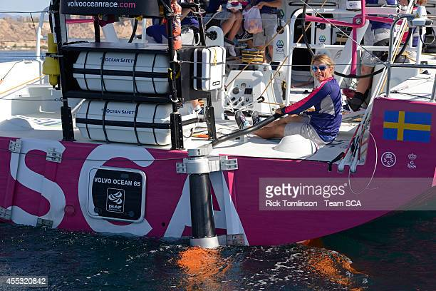 Team SCA members carry out an exercise to fit the emergency steering rudder and sail with it for 20 minutes prior to the race start of Leg 0 of the...