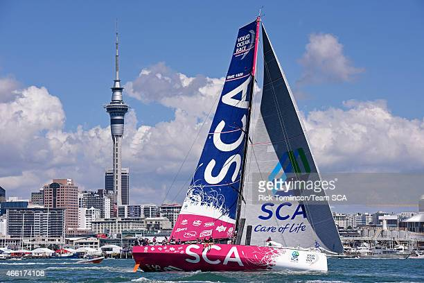 Team SCA skippered by Sam Davies win the InPort Race ahead of Leg 5 of the Volvo Ocean Race from Auckland to Itajai on March 14 2015 in Auckland New...