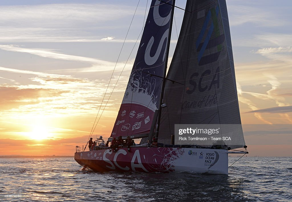 Team SCA's Volvo Ocean 65 skippered by Sam Davies finishes at dawn, beating the all female round Britain record, during the Sevenstar Round Britain and Ireland Race 2014 off the Royal Yacht Squadron August 16, 2014 Cowes, Isle of Wight, England. Team SCA crossed the finish line of the 1880nm race at 06.10.39 BST on Saturday 16th August 2014 with an elapsed time of 4 days, 21 hours, 00 minutes and 39 seconds. This breaks the previous World Record for Women's Monohull set by Aviva, an Open 60, in 2009, by 1 day, 14 hours, 30 minutes and 14 seconds. SCA's record is subject to ratification by the World Speed Sailing Record Council. Among the women onboard SCA in 2014, both Dee Caffari and Sam Davies were also onboard Aviva when the World Record was set in 2009.