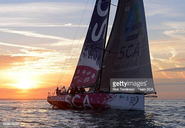 Team SCA's Volvo Ocean 65 skippered by Sam Davies finishes at dawn beating the all female round Britain record during the Sevenstar Round Britain and...