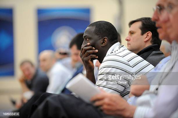 Team scouts and general managers observe the action on Day 1 of the 2013 NBA Draft Combine on May 16 2013 at Quest Multiplex in Chicago Illinois NOTE...