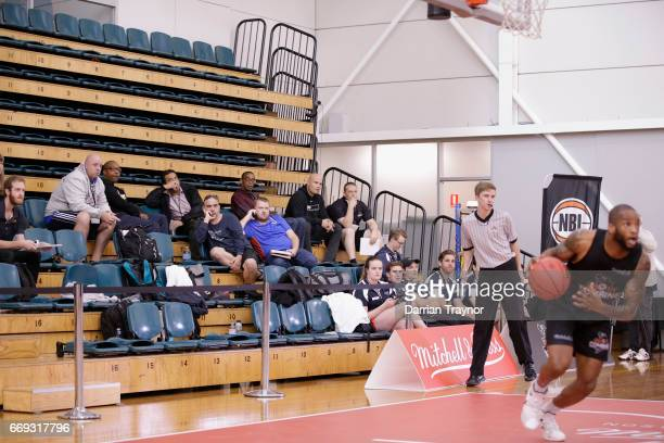 NBL team scouts look on during the NBL Combine 2017/18 at Melbourne Sports and Aquatic Centre on April 17 2017 in Melbourne Australia