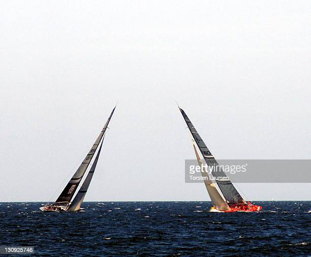 Team Shosholoza from South Africa and Team China complete in an Act 6 race in Malmo Skane Sweden in preparation for the Louis Vuitton Cup on August...