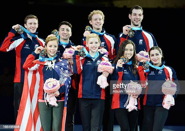 USA team skaters celebrate their gold medal during day three of the ISU World Team Trophy at Yoyogi National Gymnasium on April 13 2013 in Tokyo Japan