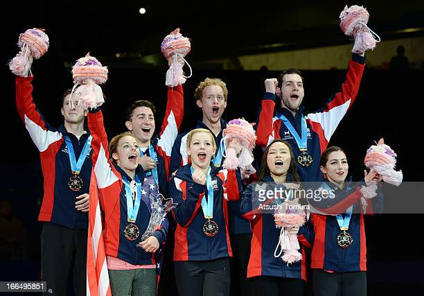 USA team skaters celebrate winning the trophy during day three of the ISU World Team Trophy at Yoyogi National Gymnasium on April 13 2013 in Tokyo...