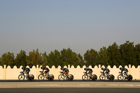 Team Sky competes in the Men's Team Time Trial during day one of the UCI Road World Championships on October 9 2016 in Doha Qatar