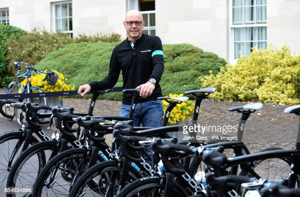 Team Sky Cycle Racing Team principal Dave Brailsford with the Teams bikes ahead of their training session on the Tour de France route ahead of the...
