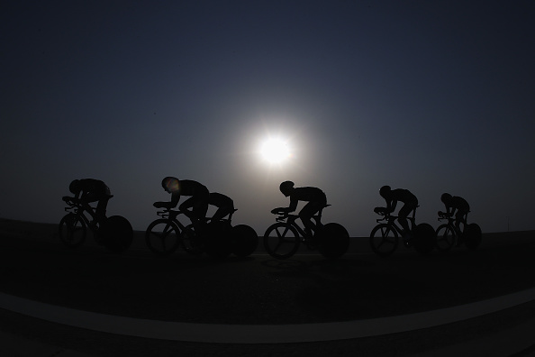 Team SKY in action during the Team Time Trial on day one of the 2016 UCI Road World Championships on October 9 2016 in Doha Qatar