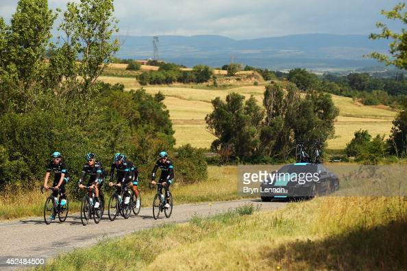 Team SKY make their way through the French countryside on a training ride during the second rest day of the 2014 Tour de France on July 21 2014 in...