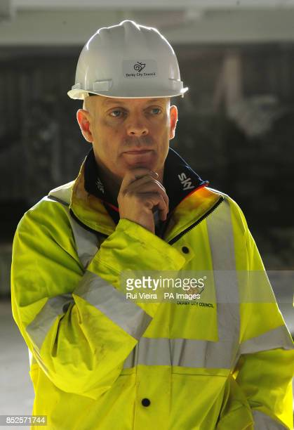 Team Sky Principal Sir Dave Brailsford during a visit to the Multi Sports Arena and Velodrome project at Pride Park in Derby
