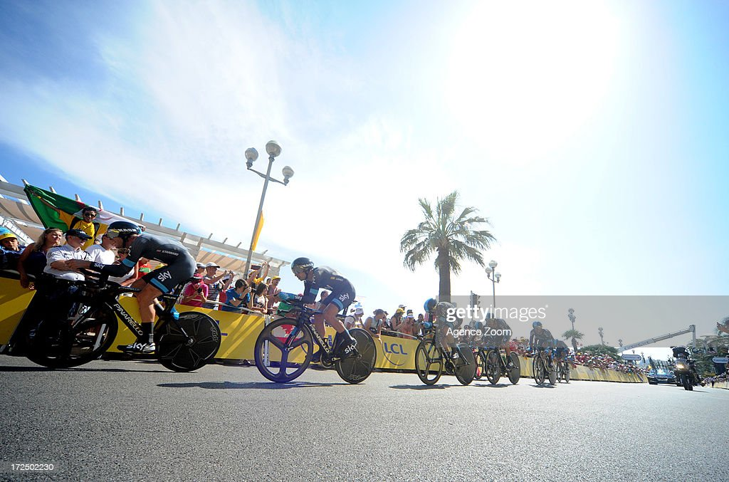 Team Sky Procycling during Stage 4 of the Tour de France on July 2, 2013 in Nice, France.