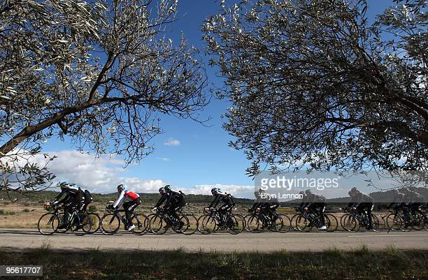 Team SKY ride through the Spanish countryside during a Team SKY Training Camp on January 6 2010 in Valencia Spain