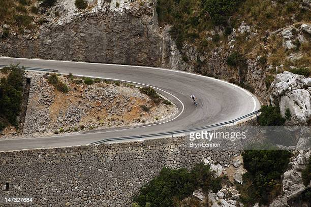 Team SKY rider Bradley Wiggins of Great Britain trains in the mountains of Mallorca in preparation for the 2012 Tour de France on June 19 2012 in...