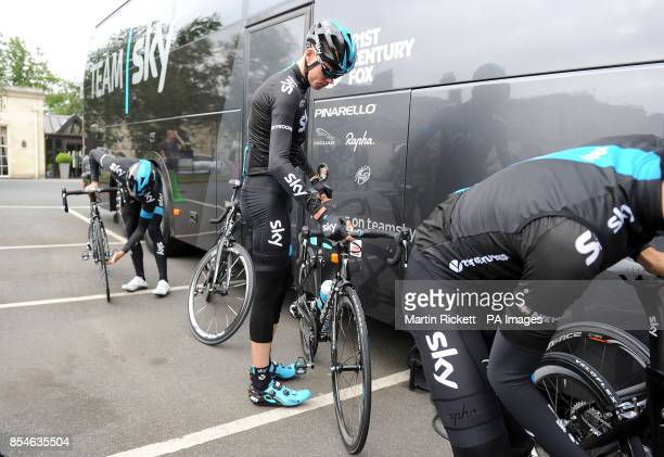 Team Sky rider Chris Froome prepares to leave the Rudding Park Hotel in Harrogate for a training ride PRESS ASSOCIATION Photo Picture date Thursday...