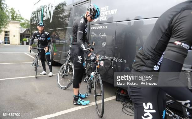 Team Sky rider Chris Froome prepares to leave the Rudding Park Hotel in Harrogate for a training ride