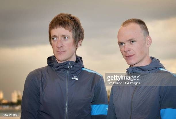 Team Sky riders Bradley Wiggins and Chris Froome during the Team Sky Media Day in Alcudia Majorca