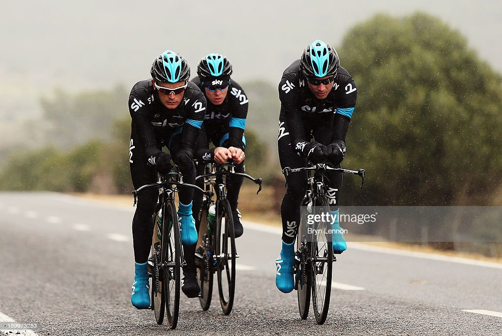Team SKY riders Chris Froome, Vasil Kiryienka and Kanstantsin Siutsou ride their time trial bikes during a Team Sky Media Day in Puerto de Alcudia on January 24, 2013 in Mallorca, Spain.