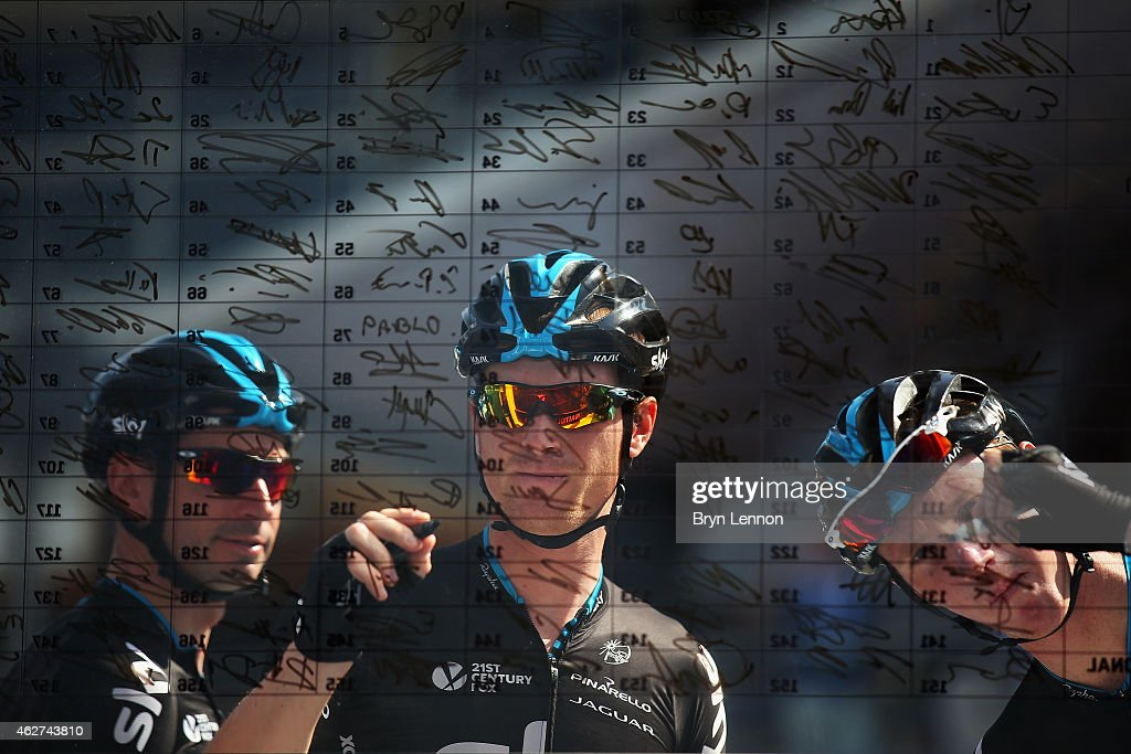 Team SKY riders <a gi-track='captionPersonalityLinkClicked' href=/galleries/search?phrase=Salvatore+Puccio&family=editorial&specificpeople=8769900 ng-click='$event.stopPropagation()'>Salvatore Puccio</a> (c) of Italy and <a gi-track='captionPersonalityLinkClicked' href=/galleries/search?phrase=Ian+Boswell&family=editorial&specificpeople=10898574 ng-click='$event.stopPropagation()'>Ian Boswell</a> (r) sign on at the start of stage one of the Dubai Tour from the Dubai International Marine Club to Union House Flag on February 4, 2015 in Dubai, United Arab Emirates.